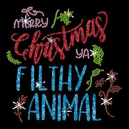Merry Christmas Letter Themed Rhinestone Transfer