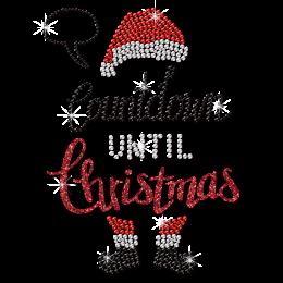 Count Down Until Christmas Santa Motif Rhinestone Transfer