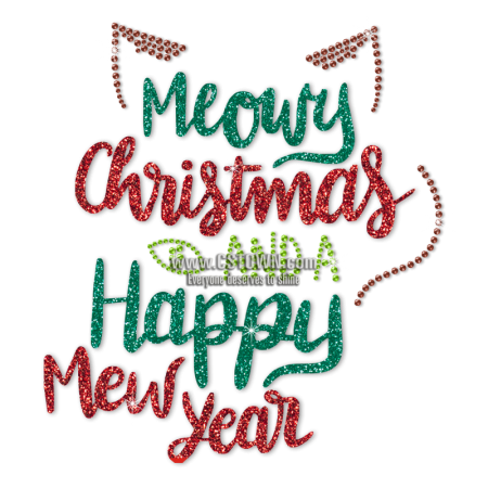 Meowy Christmas and Happy New Year Glitter Transfer