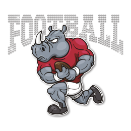 Sporty Rhinoceros Football Rhinestone Transfer