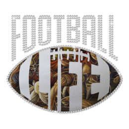 Rhinestone Comic Style Football Life Heat Transfer