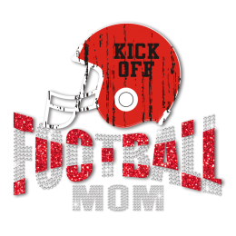 Football Mom in Red Helmet Football Iron on Transfer