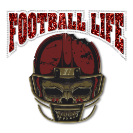 Football Life Skull Heat Transfer