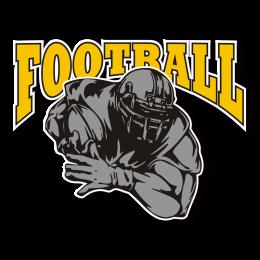 Yellow and Gray Nostalgic Football Iron on Design