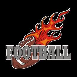 Flame Football Passionate Football Iron on Transfer