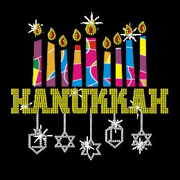 Light a Menorah in Hanukkah Traditional Custom Rhinestone Transfer