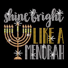 Shine Bright Like a Menorah Hanukkah Themed Rhinestone Transfer