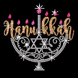 Menorah With Pink Flame Hanukkah Themed Motif for Shirts