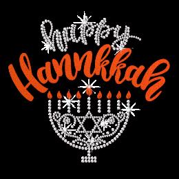 Happy Hanukkah Bling Menorah with Warm Flame Heat Transfer
