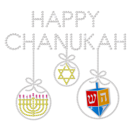 Happy Chanukkah Bling Rhinstone Heat Transfer
