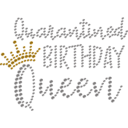 Quarantined Birthday Queen Rhinestone Hotfix Transfer for Mask