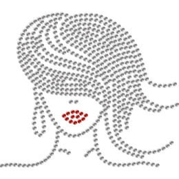 Elegant Lady with Flowing Hair Hotfix Rhinestone Transfer for Mask