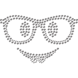 Smiling Face with Sun Glasses Rhinestone Heat Press for Mask