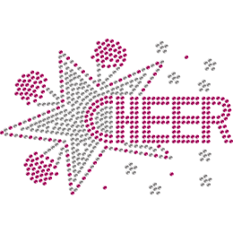 Cheer Up & Stars Rhinestud Iron-on Design for Mask