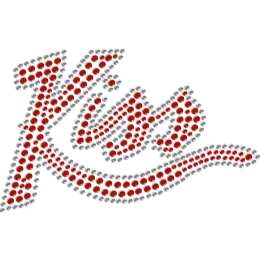 Red Kiss Me Rhinestone Heat Transfer for Mask