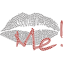Kiss Me & Lips Rhinestone Hotfix Motif for Mask