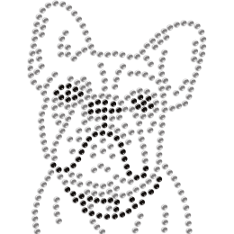 Adorable Bulldog Rhinestone Heat Transfer for Mask