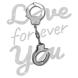 Love You Forever Handcuffs Motif Rhinestuds Transfer