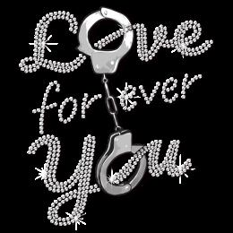 Love You Forever Handcuffs Motif Rhinestuds Transfer