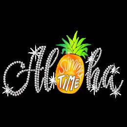 Summer Time Pineapple Bling Rhinestone Heat Transfer