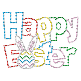 Happy Easter Colorful Metal Rhinestud Cartoon Style Transfer