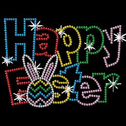 Happy Easter Colorful Metal Rhinestud Cartoon Style Transfer