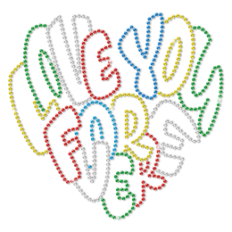Colorful Metal Rhinestud Love You Forever Heat Transfer