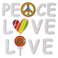 Peace Love and Life Letter Slogan Glitter Heat Transfer