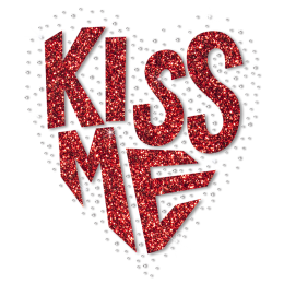 Custom Red Glitter Kiss Me Letter Motif Heat Transfer