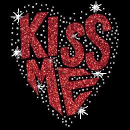 Custom Red Glitter Kiss Me Letter Motif Heat Transfer