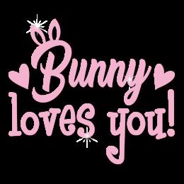Custom Cute Pink Bunny Loves You Heat Transfer