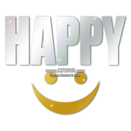 Happy Smile Metal Storm Word Heat Transfer