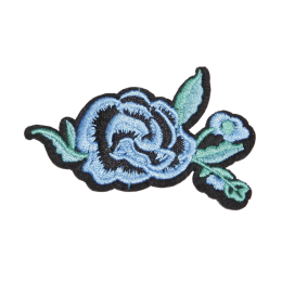 Blue Rose Motif Embroidered Patch
