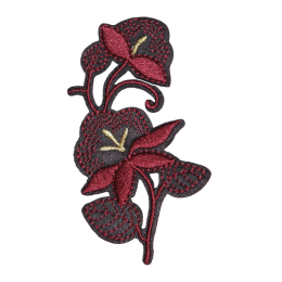 Red Flowers Partly Embroidery Patch