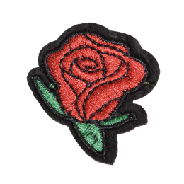 Little Red Rose with Green Leaves Embroidery Patch