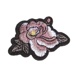 Pink Peony Motif Embroidery Patch