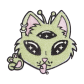 Green Alien Cat with Three Eyes Chenille Patch