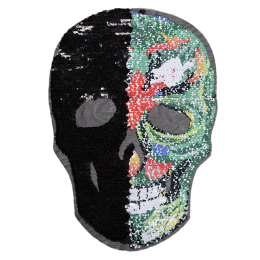 Reversible Printed Skull Sequin Patch
