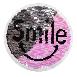 Silver and Pink Smile Face Reversible Sequin Patch