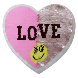 Magical Heart I love Smile Reversible Sequin Patch