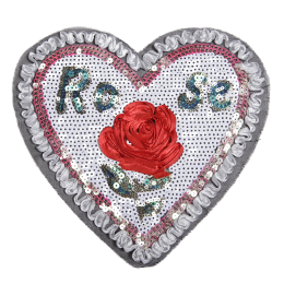 Stock Ribbon Red Rose in Heart Sequin Patch