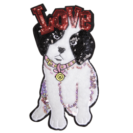 Faux Fur Love Cute Dog with Pink Collar Patch