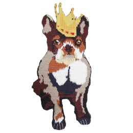 Dog with Crown Cross-Stitch Embroidery Patch