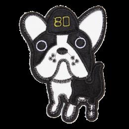 Custom PU & Faux Fur Cute Dog in White and Black Patch