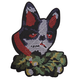 Cross-Stitch Dog in Flowers Embroidery Patch