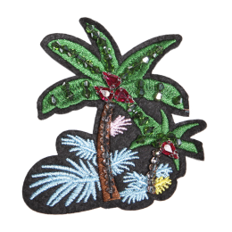 Custom Embroidered Coconut Tree Patch with Beads