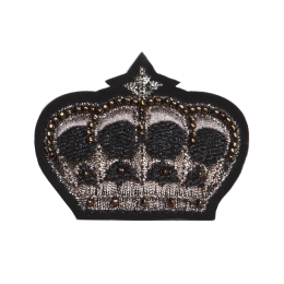 Fancy Crown Metallic Thread and Bead Patch