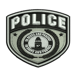Police Service Badge Embroidery On Shirts Heat Patches