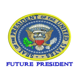 Future President Embroidered Appliques Heat Patches