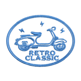 Retro Classic Scooter Outline Embroid